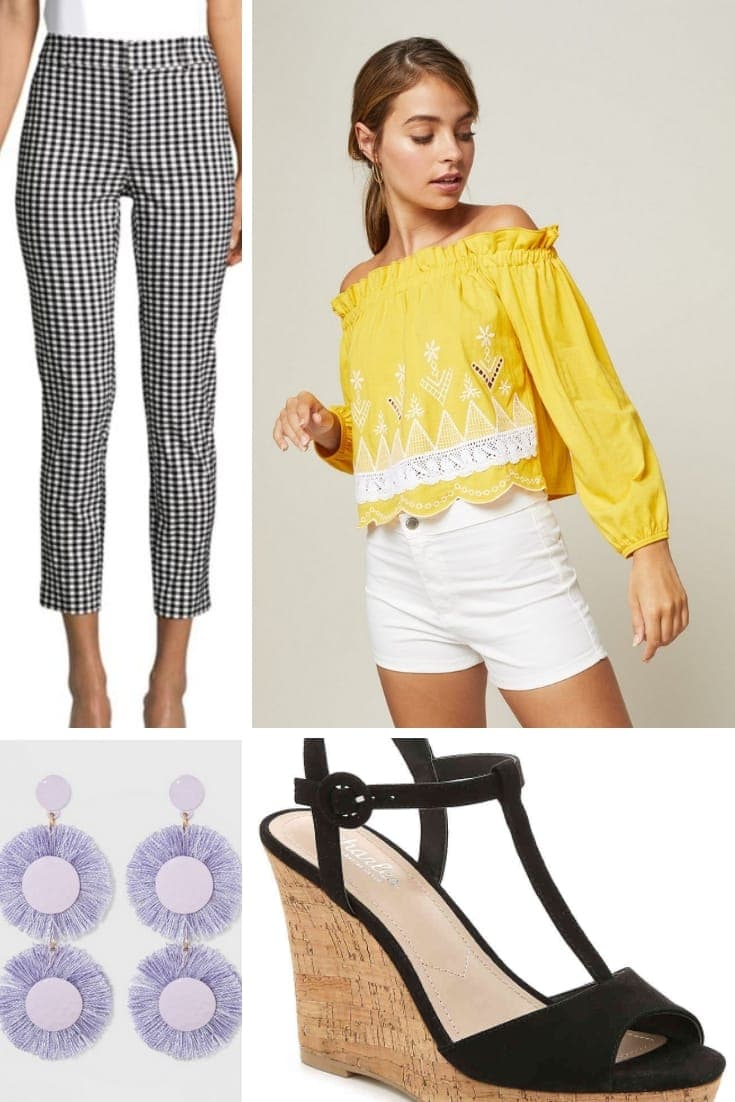 Outfit collage for petite woman: yellow Bardot style top, gingham pants and black wedges