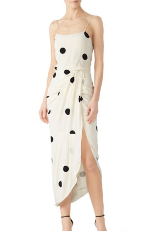 White dress with black polka dots from Rent the Runway