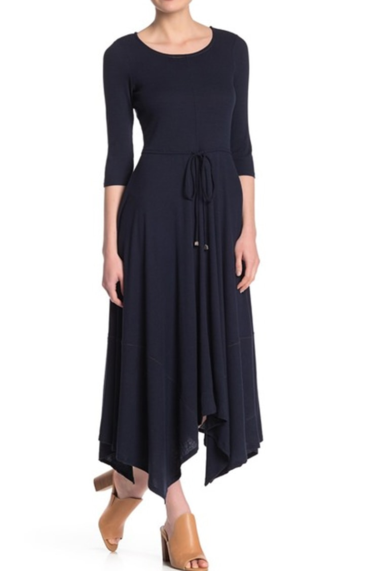 Dark blue shark bite dress with long sleeves