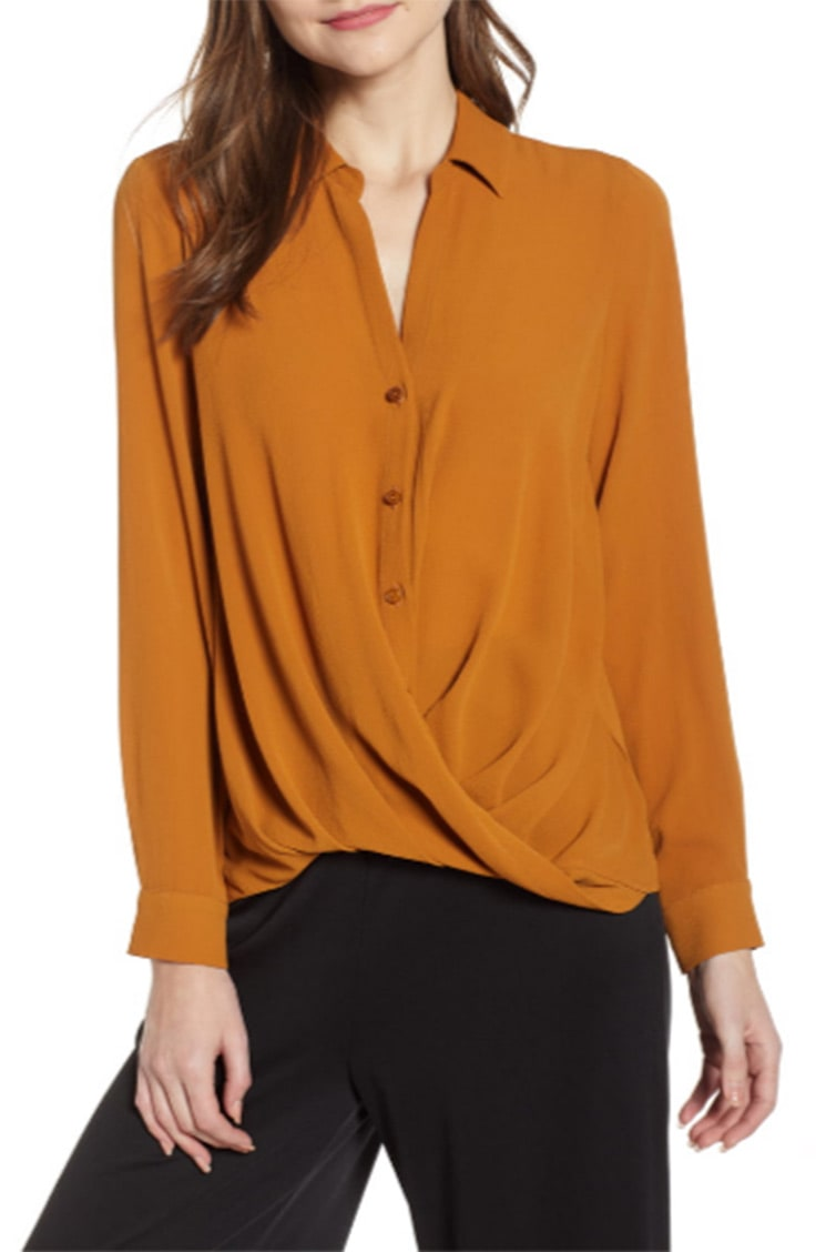 Dark mustard button down top with drape front