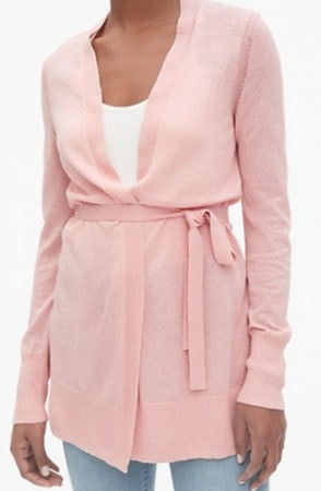 Pink belted cardigan