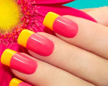 Bright, two-tone manicure