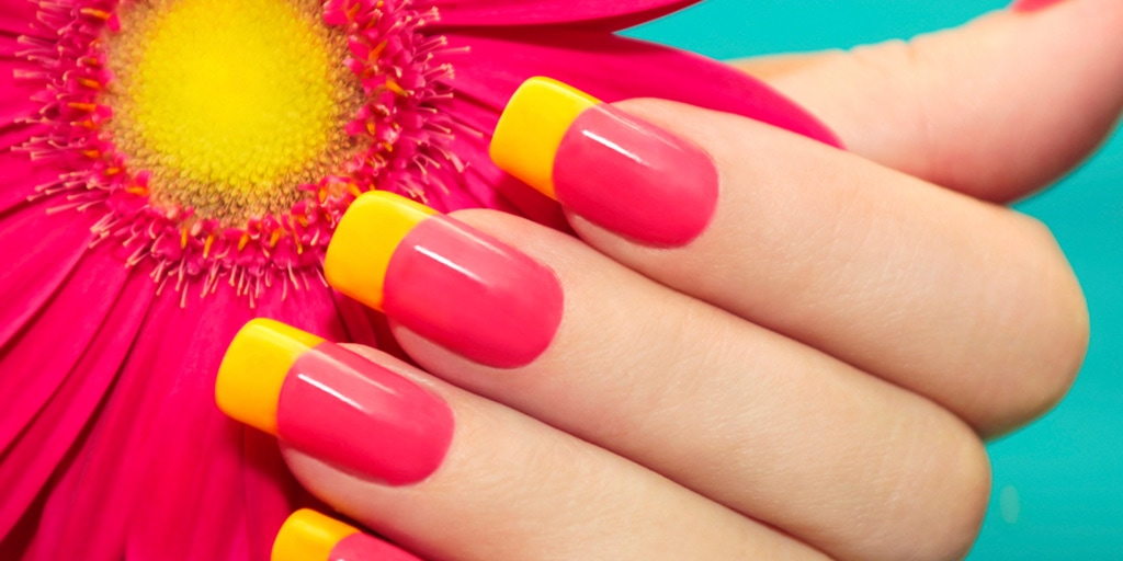 Bright, two-tone manicure
