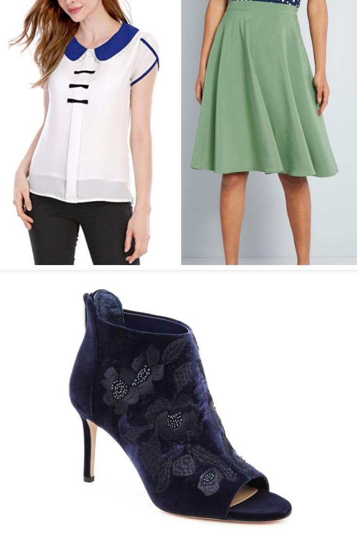 Spring work outfit collage of green skirt, white top and blue booties