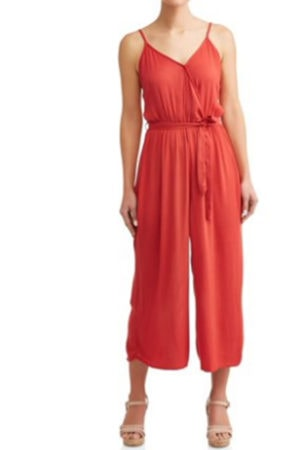 Coral wrap front jumpsuit from Walmart