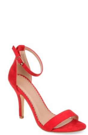 Red strappy sandals from walmart
