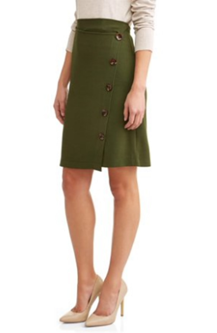 Olive green button front skirt