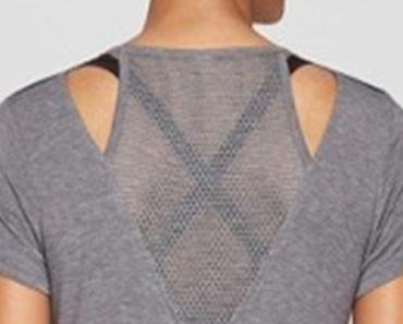 Gray mesh insert workout top