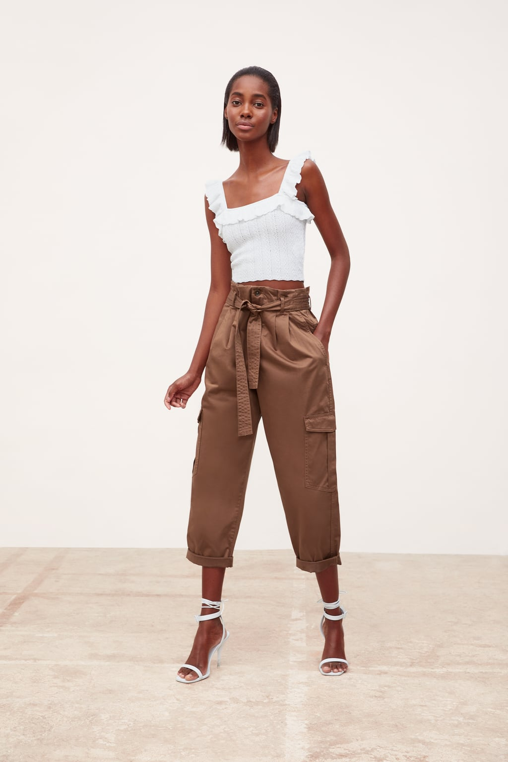 Belted cargo pants from Zara