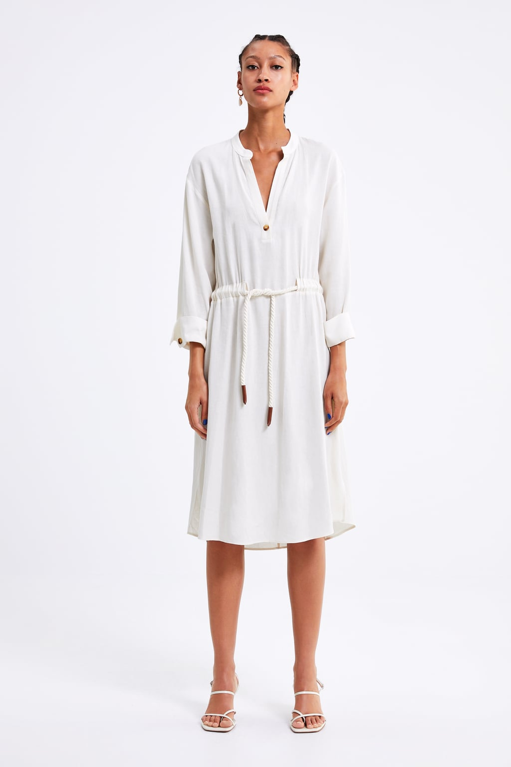white dress with rope belt from zara