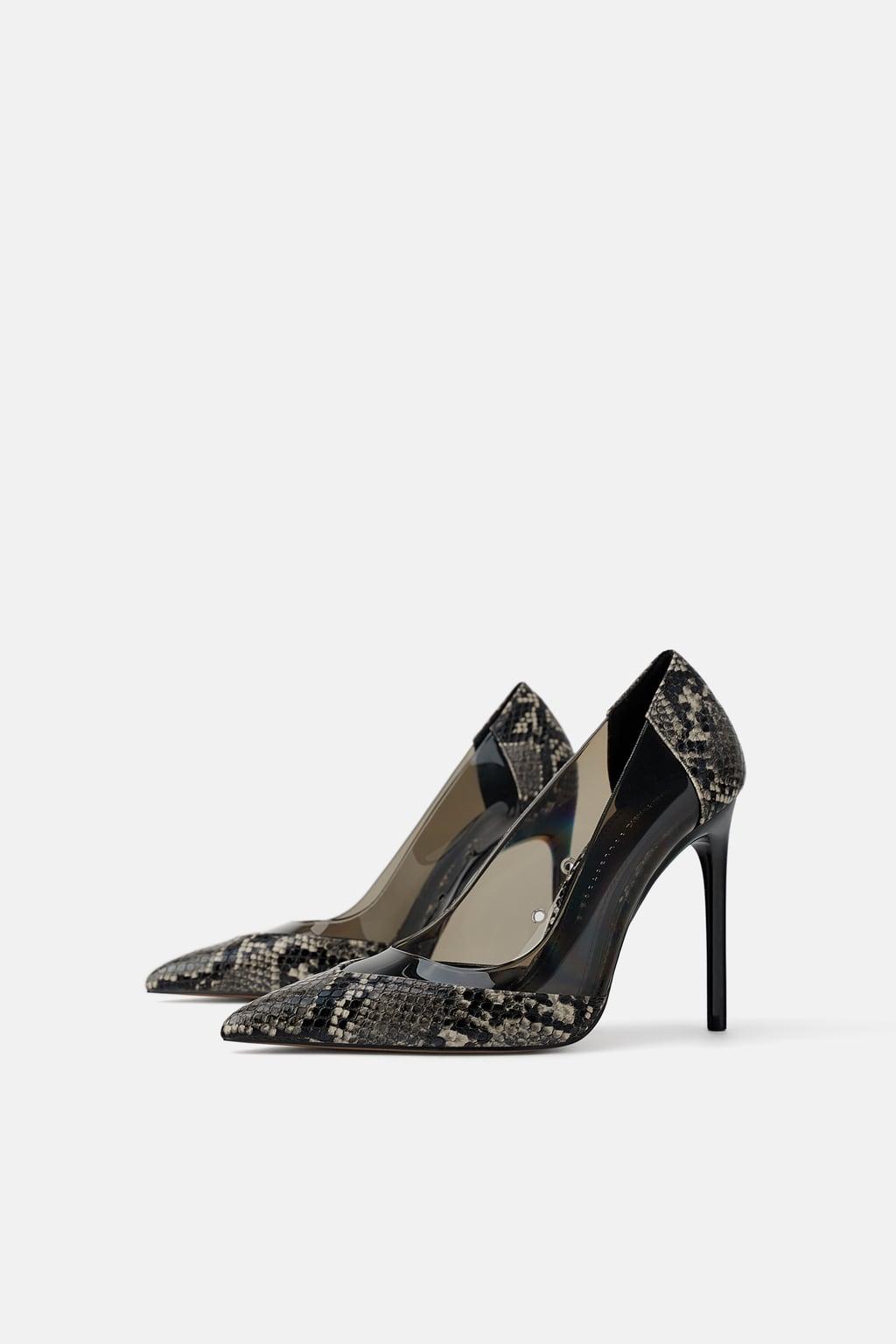 snake print heels from Zara