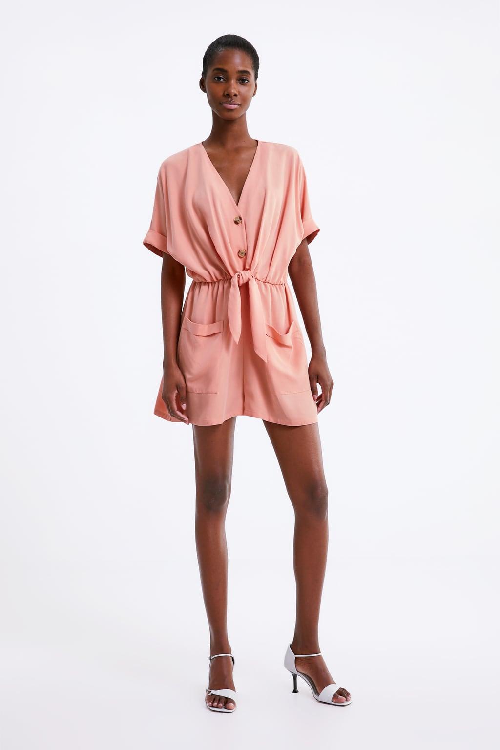 Jumpsuit with waist tie in tangerine from Zara