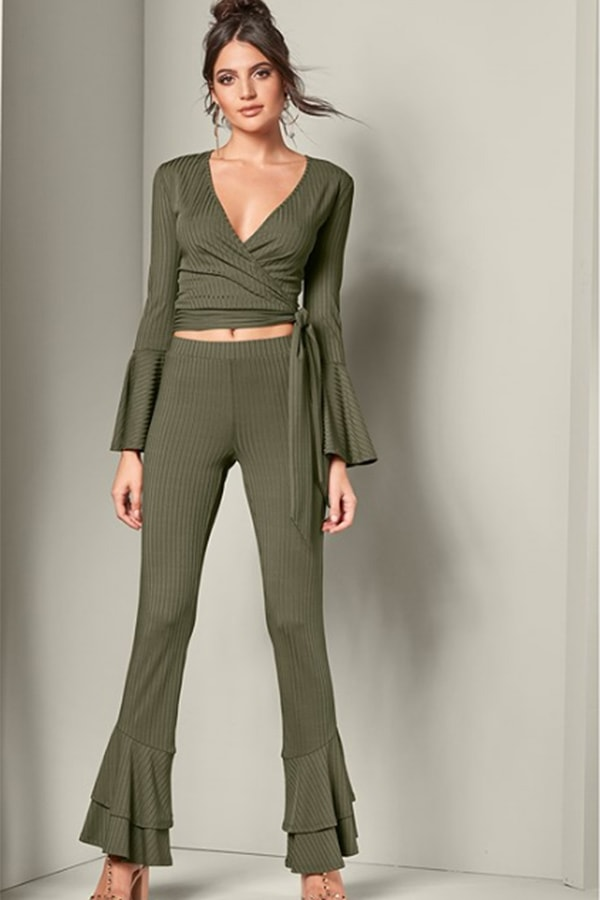 Olive green, 70s inspired, flare leg pants