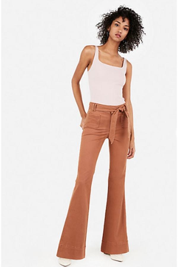 Tie waist, flared leg pants