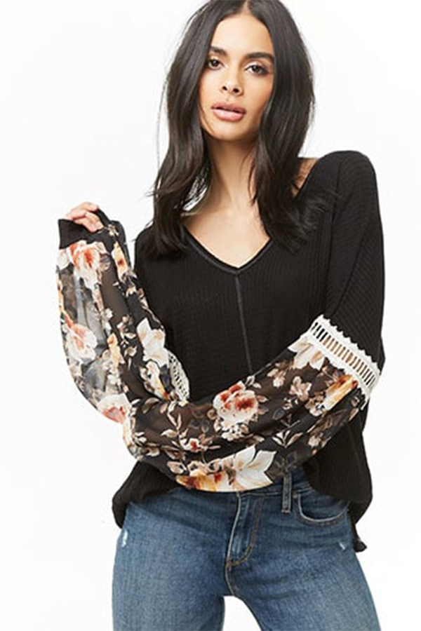 70s fashion trends - Black floral peasant top