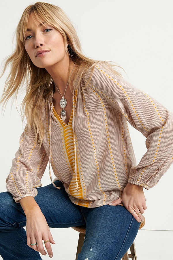 Yellow striped peasant top