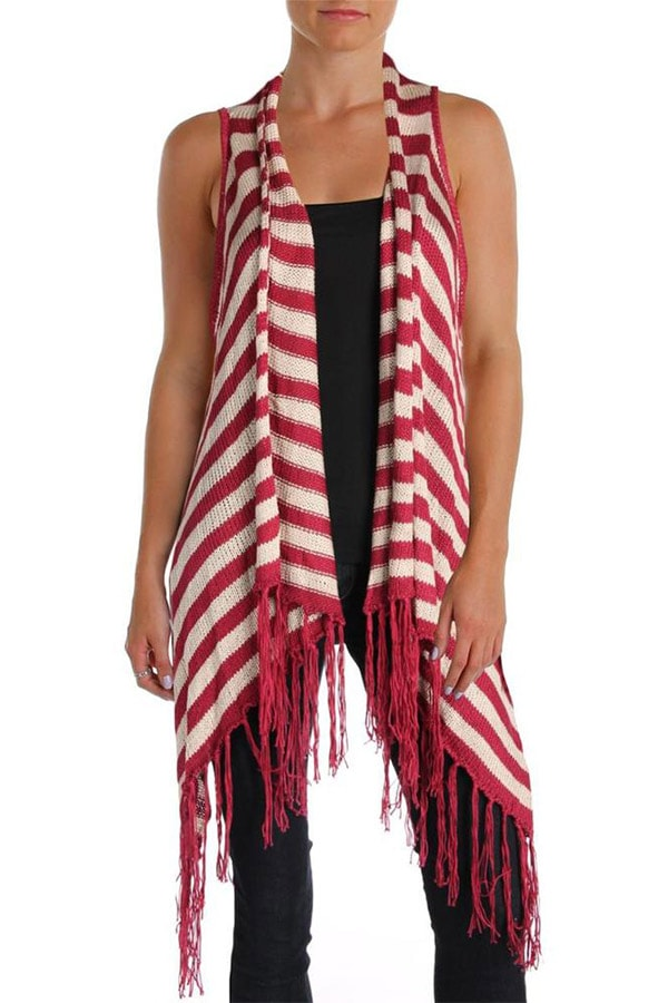 Red and white striped fringed long vest
