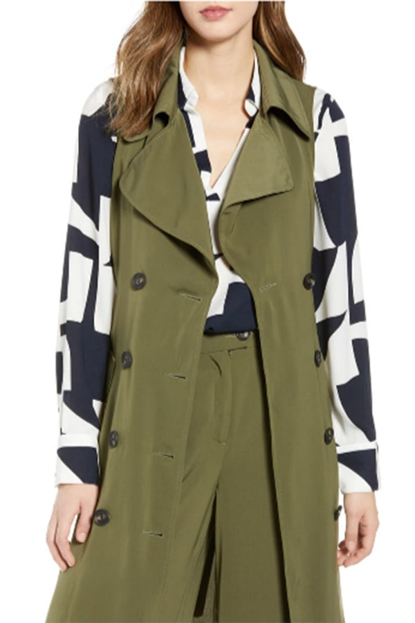 Olive green trench coat vest