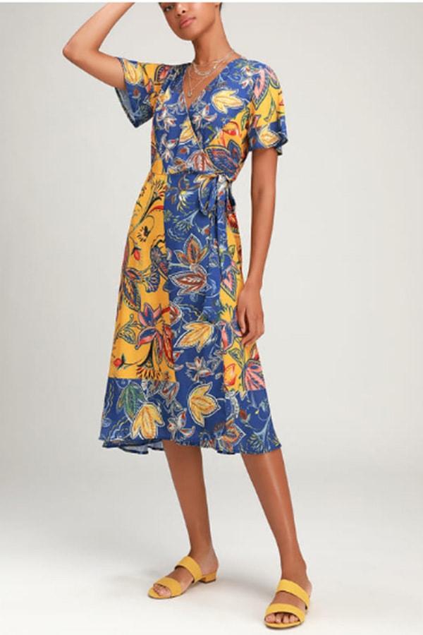 Colorful wrap dress