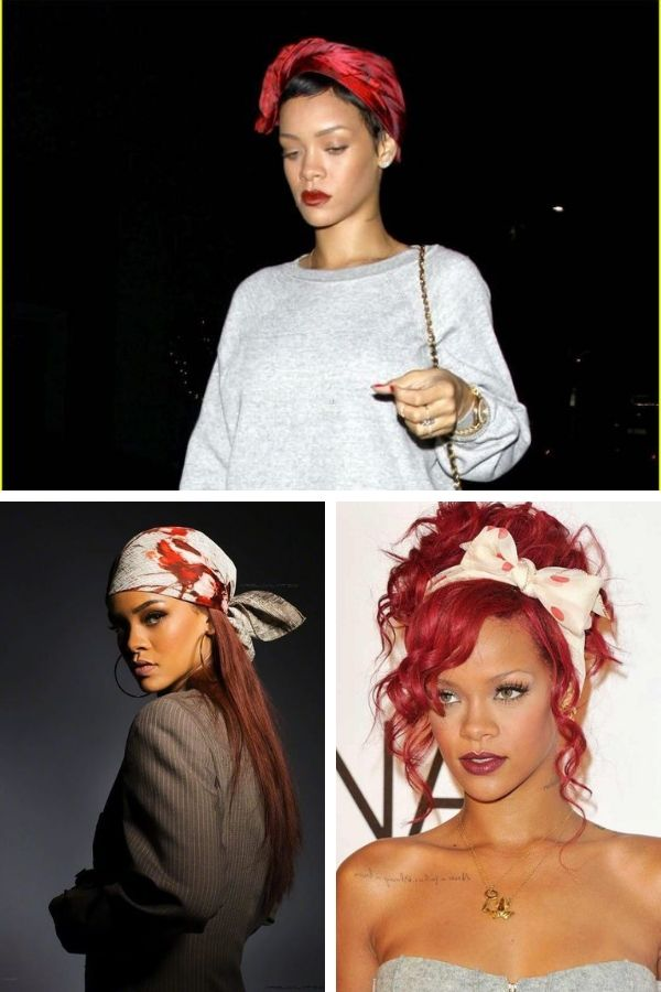 Collage of Rihanna wearing hair scarves