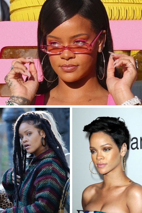 Collage of Rihanna wearing hoop earrings