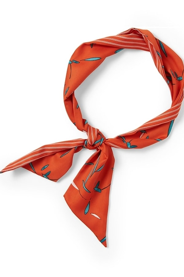 Orange patterned headscarf