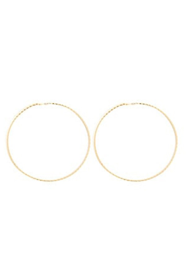 Gold-colored hoop earrings