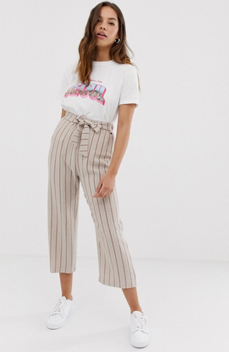 High waisted, striped crop pants from ASOS