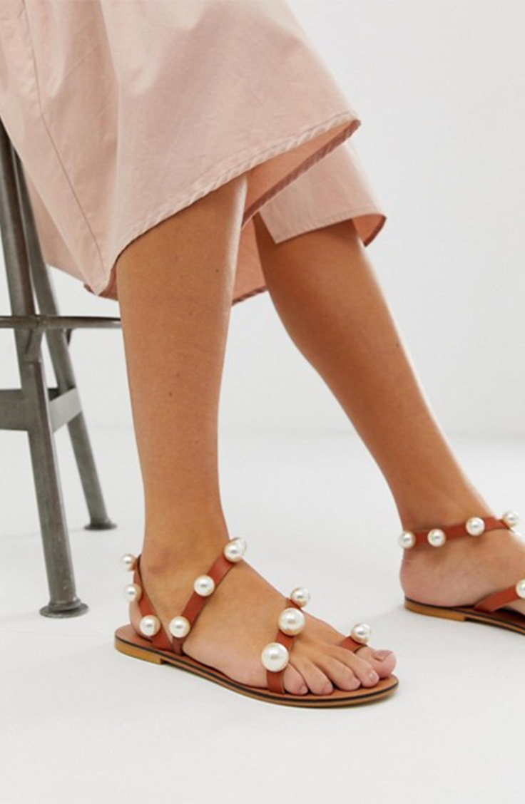 Pearl embellished sandals from ASOS