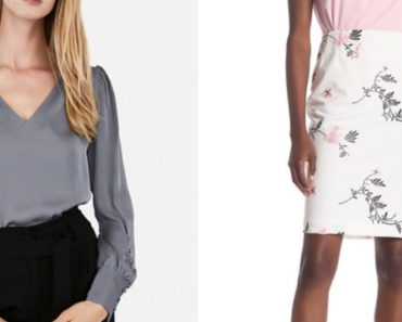 Collage of blouse and pencil skirt