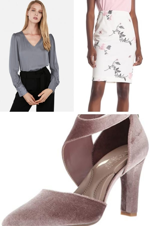 Outfit collage with work outfit for athletic shaped body