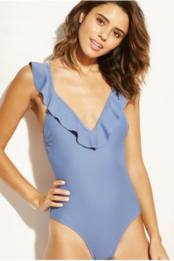 Blue v neck ruffle swimsuit