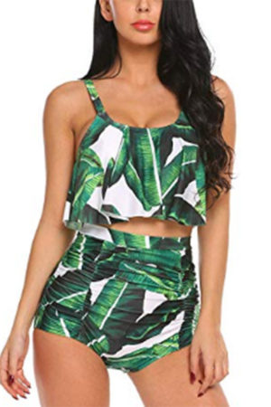 Two piece tropical print suit