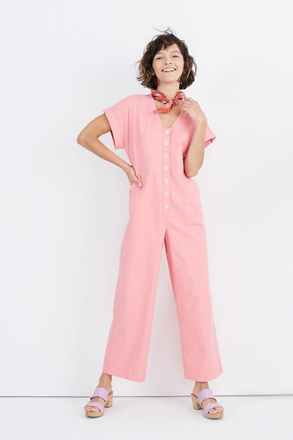 Pink, button-up boiler suit