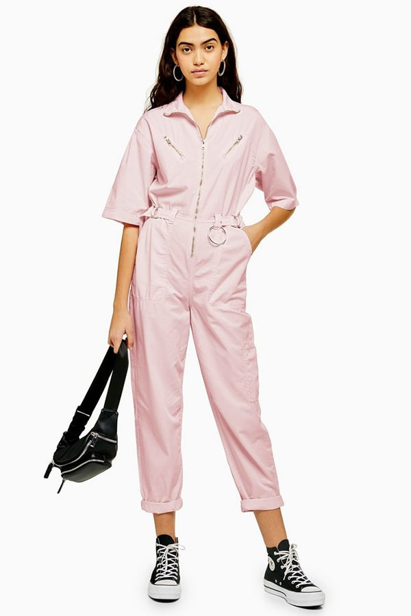 Pink boilersuit with zipper