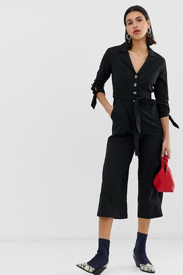 Black boiler suit with belted waist