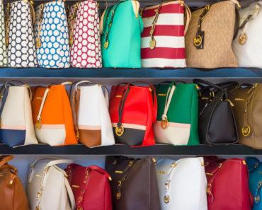Fake handbags on rack