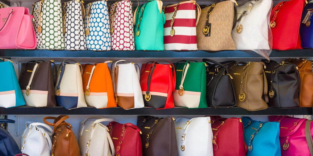 Fake handbags on rack