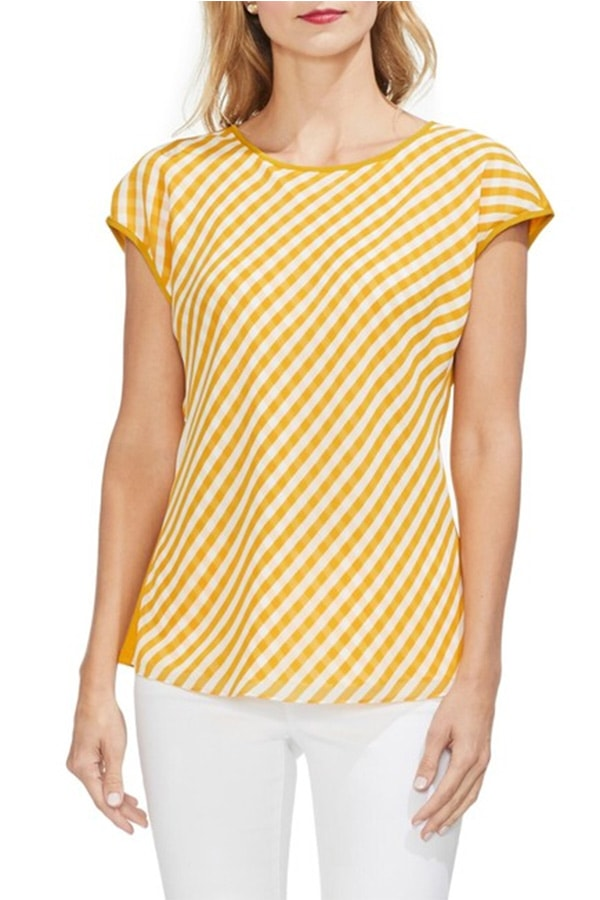 Yellow gingham front top