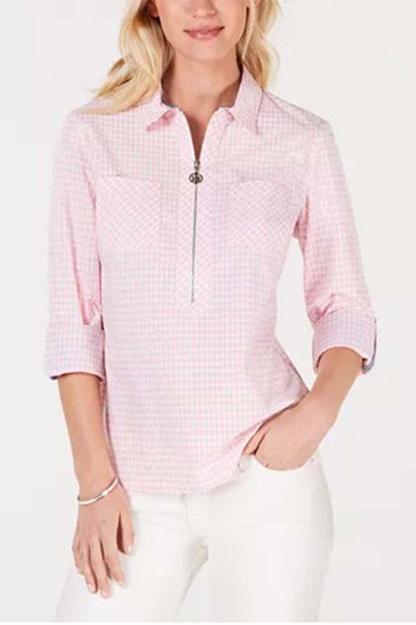 Pink zipup women's gingham shirt