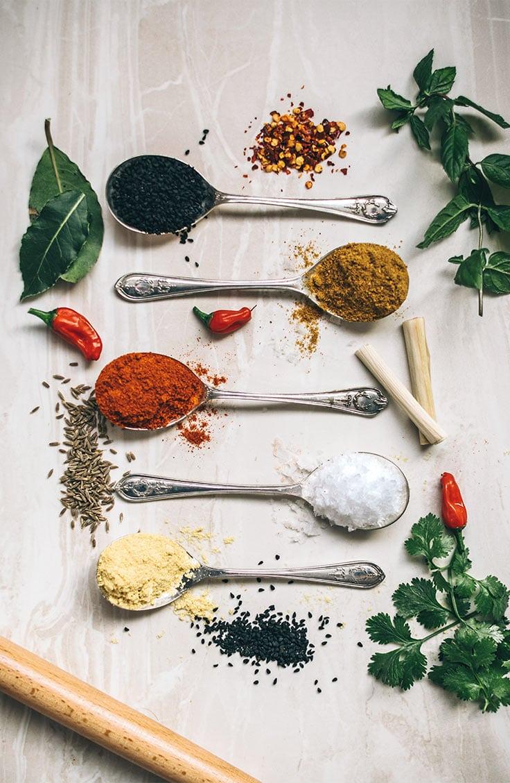 spoons filled with seasonings