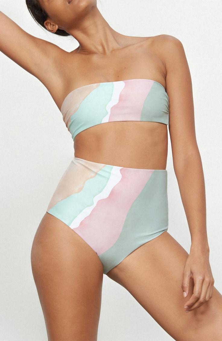 Bandeau bikini top and high waisted bottom from eco friendly line Mara Hoffman