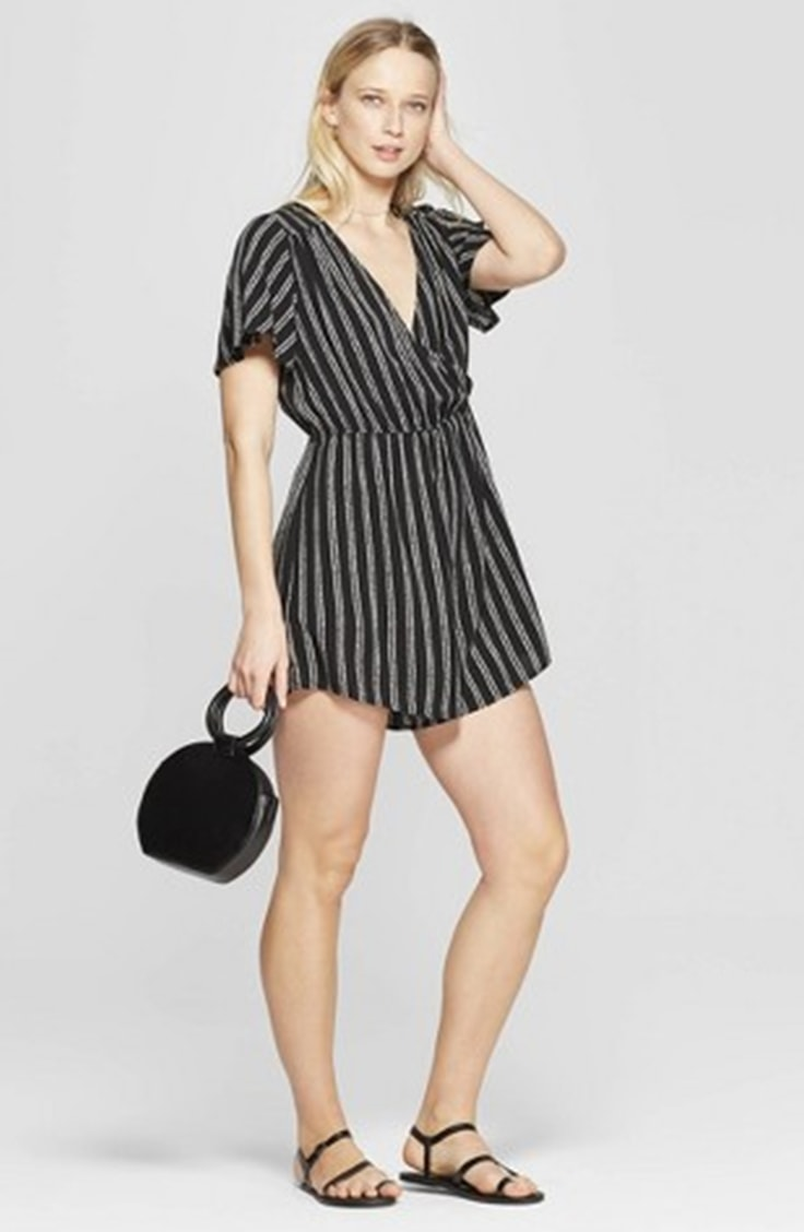 Striped romper as an alternative to short shorts