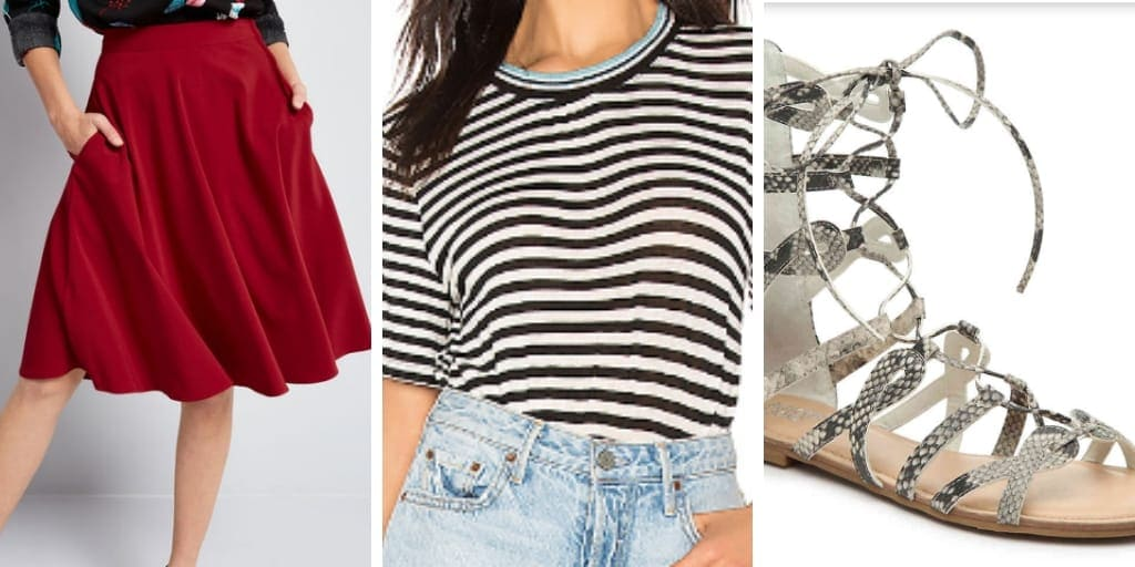Outfit collage for pears: skirt, striped top and gladiator sandals