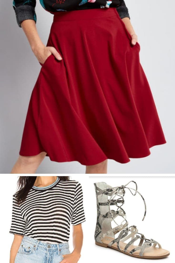 Flirty summer outfit for pears: red, a-line skirt, striped top and sandals