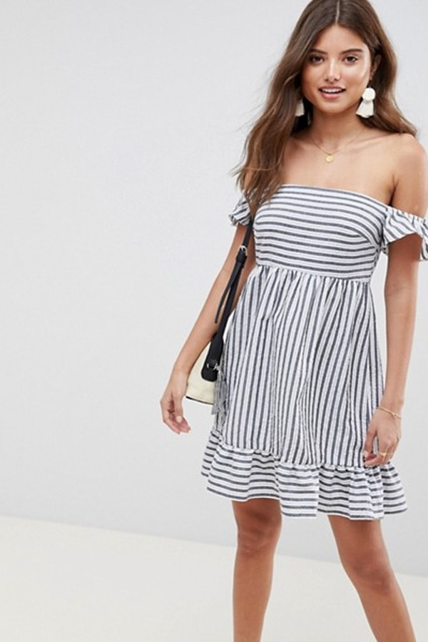 Striped, off-shoulder sundress