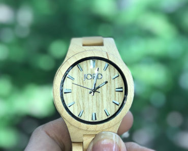 Close up of a wood watch