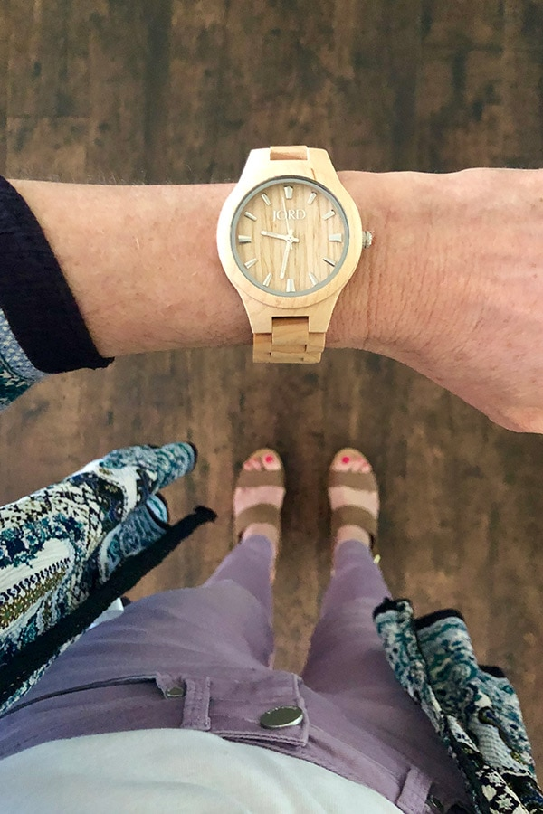 Wood watch style -- elevated casual outfit that includes wood watch.