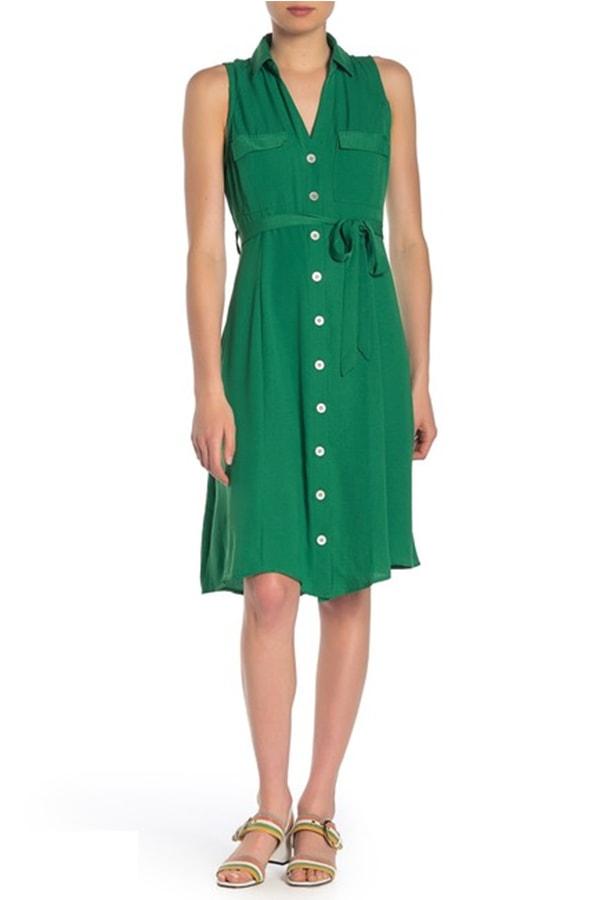 Green shirt dress with belt