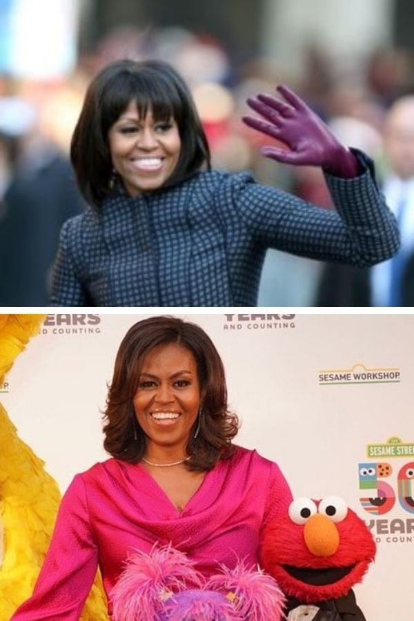 Collage of Michelle Obama haircuts